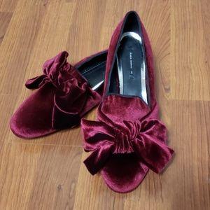 Zara Burgundy Velvet Flats/Loafers w/Bow - NWOT